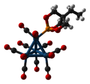 Ball-and-stick model of the (trimethylolpropane phosphite)tetrairidium undecacarbonyl cluster