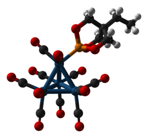 Trimethylolpropane phosphite -  Ball-and-stick model of the (trimethylolpropane phosphite)tetrairidium undecacarbonyl cluster