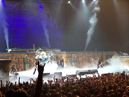 Iron Maiden performing in Toronto during the Somewhere Back in Time World Tour 2008. The stage set largely emulated that of the World Slavery Tour 1984–85. Iron Maiden 086.jpg