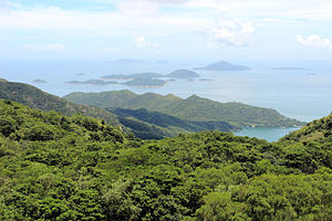 Wanshan Archipelago - View from Tian Tan Buddha in Hong Kong. The closest islands are the Soko Islands, part of the territory of Hong Kong. The four most distant islands are part of the Wanshan Archipelago. From left to right: Ai Zhou, Ai Zhou Zi, Dazhi Zhou, Xiaozhi Zhou.
