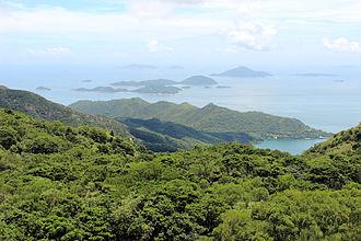 Wanshan Archipelago - View from Tian Tan Buddha in Hong Kong. The closest islands are the Soko Islands, part of the territory of Hong Kong. The four most distant islands are part of the Wanshan Archipelago. From left to right: Ai Zhou, Ai Zhou Zi, Dazhi Zhou, Xiaozhi Zhou.