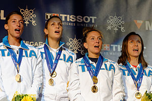 Elisa Di Francisca - Di Francisca (L) sings the national anthem on the podium of the 2013 World Championships