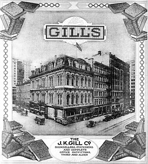 J. K. Gill Company - A 1914 newspaper advertisement for the J.K. Gill Co., depicting the 1893 store