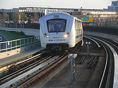 The Bombardier Innovia Metro, a type of rolling stock that is used on AirTrain JFK