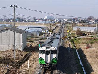 Ishinomaki Line - KiHa 48 DMU on a local train, November 2014
