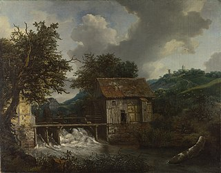 <i>Two Watermills and an Open Sluice near Singraven</i> painting by Jacob van Ruisdael
