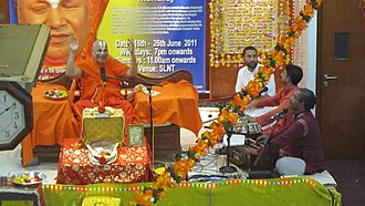 Rambhadracharya - Rambhadracharya's katha on Ramcharitmanas in June 2011 at Shree Lakshmi Narayan Temple, Singapore.