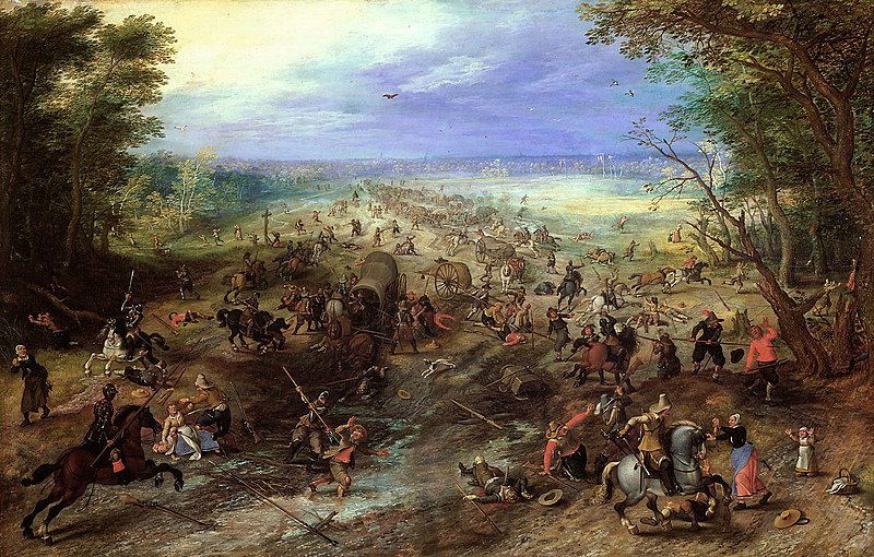 "Sebastiaan Vrancx and Jan Brueghel the Elder's painting depicts ""An assault on a convoy"" during the Dutch Revolt - effectively an instance of guerrilla warfare, though the term did not yet exist. Jan Brueghel (I) and Sebastian Vrancx - Assault on a Convoy.jpg"