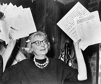 Jane Jacobs - Jane Jacobs as chairperson of a Greenwich Village civic group at a 1961 press conference