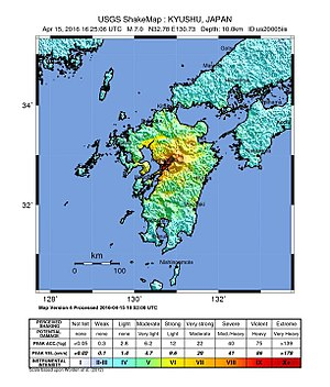 2016 Kumamoto earthquakes - Image: Japan Shakemap 15 April 2016