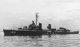 Japanese destroyer Ariake (DD-183), circa in the 1960s.jpg
