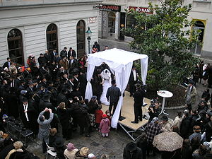 Orthodox Jewish wedding with chupah in Vienna'...