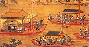 Jiajing Emperor - The Jiajing Emperor on his state barge, from a scroll painted in 1538 by unknown court artists