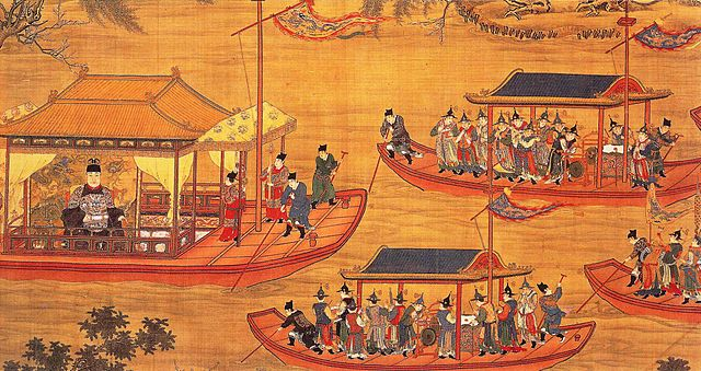 Ming court artist painting showing the Ming emperor Jiajing on his state barge