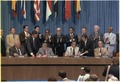 Jimmy Carter and Omar Torrijos at the signing of the Panama Canal Treaty. - NARA - 179925.tif