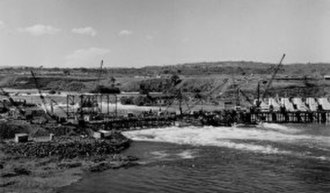 Nalubaale Hydroelectric Power Station - Construction of the Owen Falls Dam in early 1950s