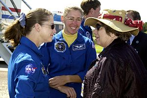 JoAnn H. Morgan - JoAnn H. Morgan (then Director of External Relations and Business Development at KSC) with STS-112 Pilot Pamela Melroy (left) and Mission Specialist Sandra Magnus (center) after the landing of Space Shuttle Atlantis