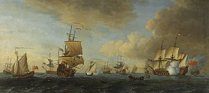 John Cleveley the Elder - An English frigate under sail firing a gun, with shipping at anchor and under sail.jpg