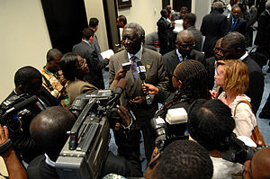 Media of Ghana - The 2nd President of the 4th Republic of Ghana, John Agyekum Kufuor speaks with the press.