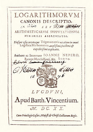 History of logarithms - Title page of John Napier's Logarithmorum from 1620