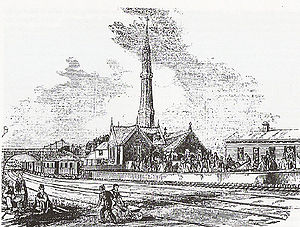 Atmospheric railway - Jolly-sailor station on the London and Croydon Railway in 1845, showing the pumping station, and the locomotive-less train