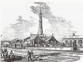 London and Croydon Railway - Jolly-sailor station in 1845, the atmospheric pumping station, with its Gothic chimney/exhaust vent, in the foreground.