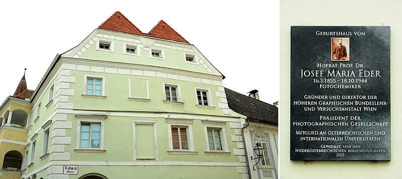 File:Josef Maria Eder, Geburtshaus mit GT,Krems, Schmid-Gasse.jpg