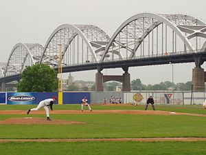 Modern Woodmen Park - Joshua Hill pitch, Centennial Bridge from the Ballpark 2003