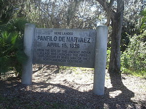 Pinellas County, Florida - Marker at site of 1528 Narvaez landing, Jungle  Prada,