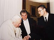 Pope John Paul II with the Slovenian ambassador Ludvik Toplak in September 2002