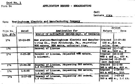 KDKA FCC History Card application record card number 1.jpg
