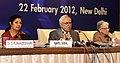 Kapil Sibal addressing the Press Conference after the State Education Minister's Meet, in New Delhi. The Minister of State for Human Resource Development, Dr. (Smt.) D. Purandeswari and the Secretary, SE&L, Ministry of HRD.jpg
