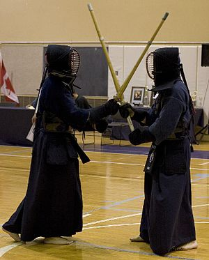 Bōgu - Kendo practitioners wearing bogu in training