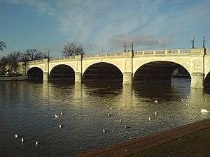 Kingston Bridge, London - Kingston Bridge from upstream at Kingston