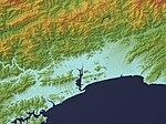 Kochi Plain Relief Map, SRTM-1.jpg