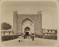Kokand Khanate. Gate of the Kokand Palace in the City of Kokand. Exterior View, with Soldiers of the Kokand Khan's Army Standing Outside the Entrance WDL10730.png
