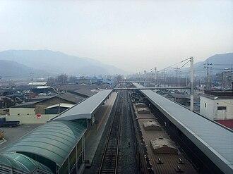 Soyosan station - Image: Korail Gyeongwon Line Soyosan Station Platform 1
