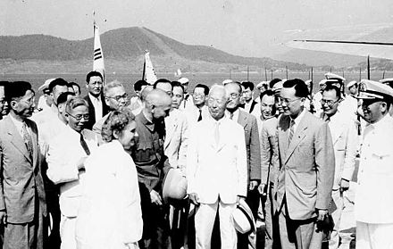 Rhee with President of the Republic of China Chiang Kai-shek in 1949 Korea Dignitaries.jpg