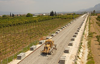 Hellenic Railways Organisation - Work in progress between Corinth and Kiato, April 2007. This section is now in use.