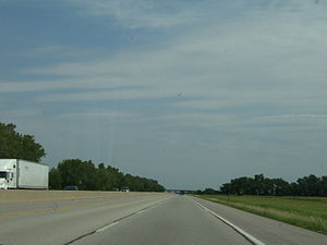 Interstate 35 - A view from the I-35 portion of the Turnpike, between mileposts 29 and 30.