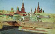 Kuindzhi View of the Moskvoretsky Bridge the Kremlin and the Pokrovsky Cathedral 1882.jpg