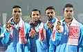 Kunhi Mohamed, Dharun A., Mohamed Anaz and Arokya Rajiv of India winners of Gold Medal in Women's 1600m Relay in Athletics, at the 12th South Asian Games-2016, in Guwahati on February 11, 2016.jpg