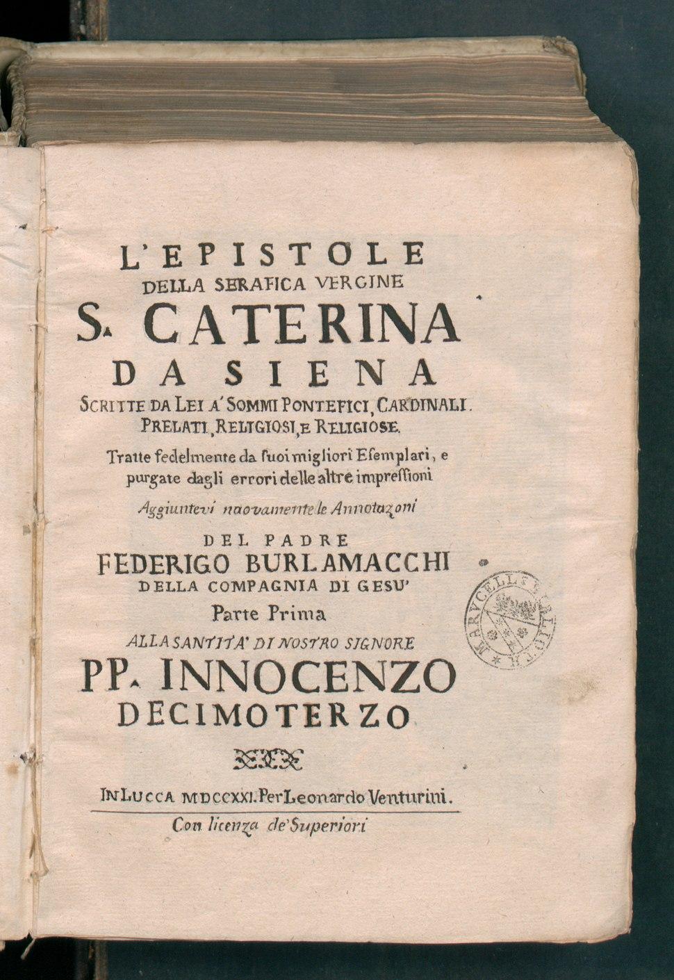 L'epistole della serafica vergine s. Caterina da Siena