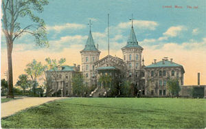 Old post card of Lowell MA jail house