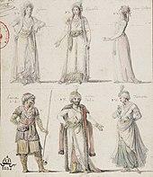Kostümentwürfe für La caravane du Caire (Jean-Simon Berthélémy, 1790). (Quelle: Wikimedia)
