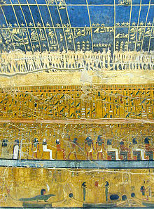Walls of an ancient tomb, covered in paintings, showing gloden stars on a blue background, rows of hieroglyphs beneath.