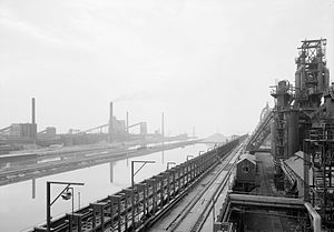 Lackawanna Steel Company - Lackawanna Steel Co. plant at Lackawanna, New York, circa 1968. This image looks south-southeast along the ship canal.