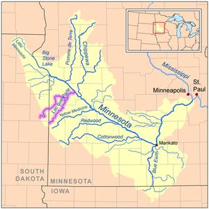 Lac qui Parle River - Image: Lacqueparlerivermap