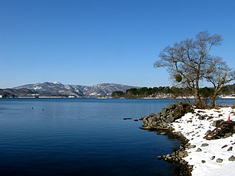 Lake Hobara in winter with a snow-covered bank