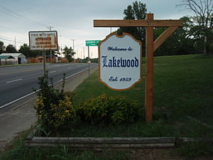 Lakewood, Tennessee - Sign indicating entrance to Lakewood